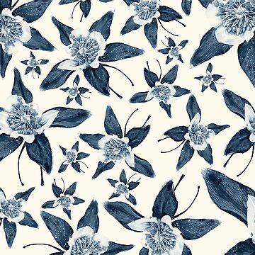 Blue Colorado Columbine Pattern by RachelTilley