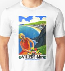 Normandy, France, French riviera, blond woman with flowers, vintage travel poster T-Shirt
