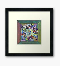 D2 Personalized Sticker Collage Rainbow Fun Framed Print