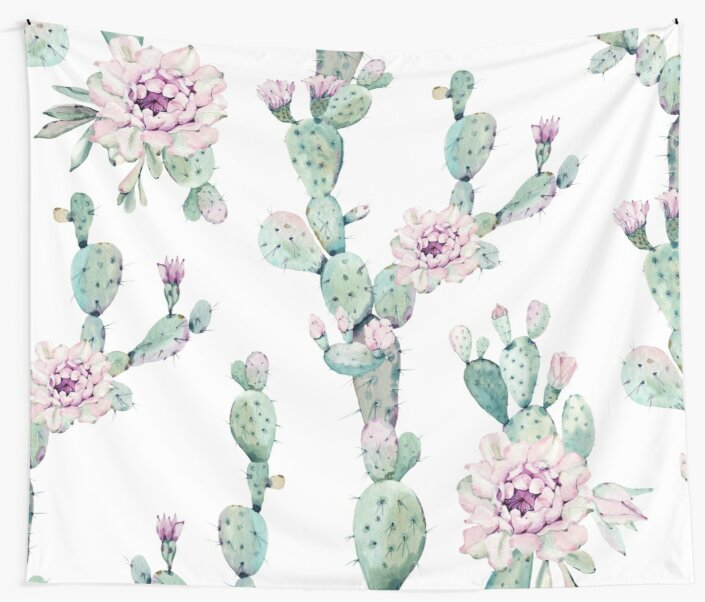 Trendy Cactus Pink White And Mint Green Desert Cacti Home Decor