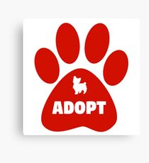Cute Pets Paw Cat Dog Adopt Red Canvas Print