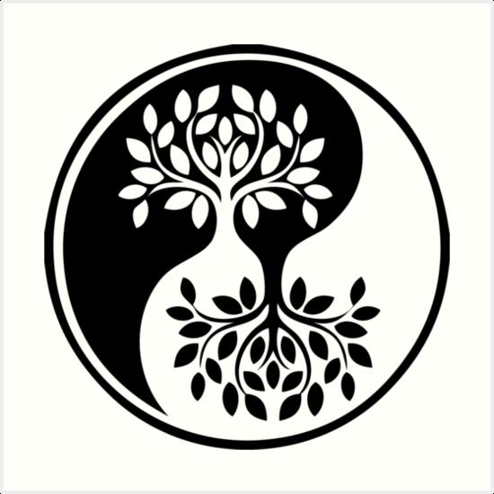 Láminas Artísticas árbol De La Vida Blanco Y Negro Yin Yang De