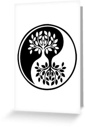 Tarjetas De Felicitación árbol De La Vida Blanco Y Negro Yin Yang