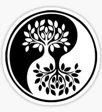 Black and White tree of life; Yin Yang Sticker