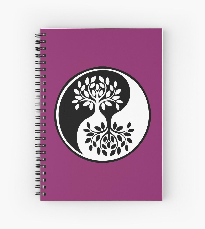 Cuadernos De Espiral árbol De La Vida Blanco Y Negro Yin Yang De