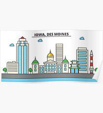 Iowa - Des Moines. Silhouette Skyline Poster