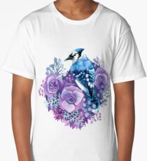 Blue Jay and Violet Flowers Watercolor  Long T-Shirt
