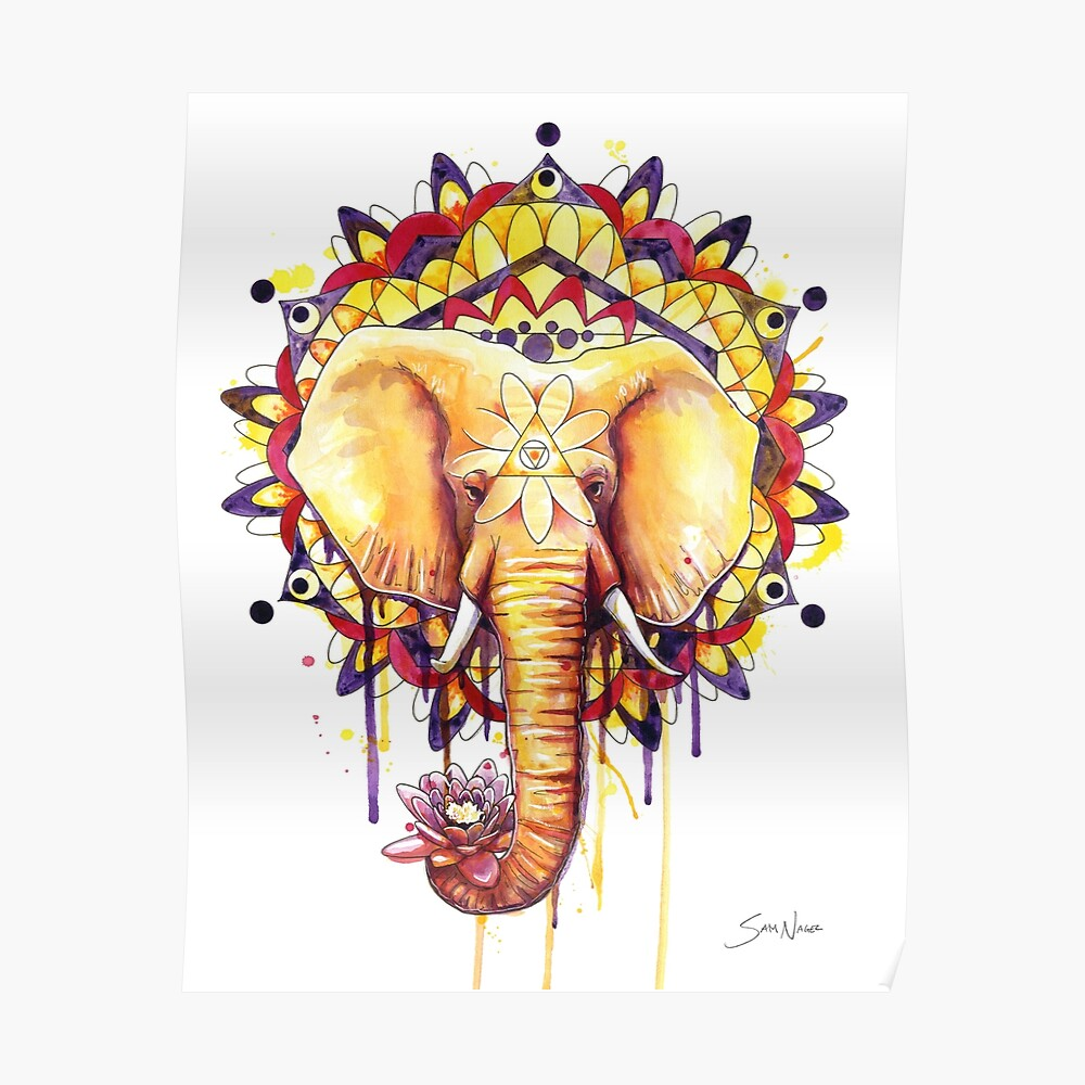Elefanten Mandala Poster