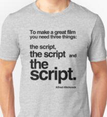 Hitchcock script quote T-Shirt