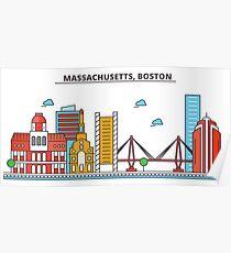 Massachusetts - Boston. Silhouette Skyline Poster