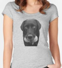 Cute dog with tennis balls Women's Fitted Scoop T-Shirt