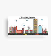 Michigan - Detroit. Silhouette Skyline Canvas Print