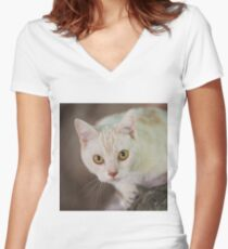 Cats In Trees IV Women's Fitted V-Neck T-Shirt