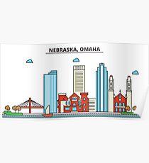 Nebraska - Omaha. Silhouette Skyline Poster