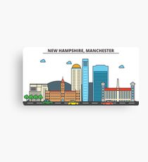 New Hampshire - Manchester. Silhouette Skyline Canvas Print
