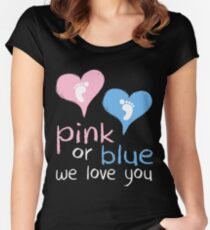 Pink Or Blue We Love You Baby Shower Heart Gender Reveal Party Mens Womens T Shirt You Baby Shower Gender Reveal Party Mens Womens T Shirt Funny Cute Gift Women's Fitted Scoop T-Shirt