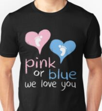 82d5db328e Pink Or Blue We Love You Baby Shower Heart Gender Reveal Party Mens Womens T  Shirt