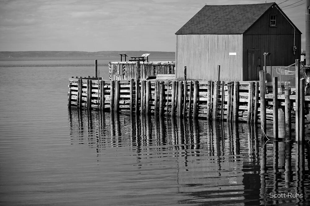 Hall's Harbour Wharf (B&W) by Scott Ruhs