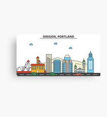 Oregon - Portland. Silhouette Skyline Canvas Print