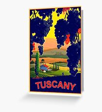 Tuscany, Italy, landscape,vineyard,travel poster Greeting Card