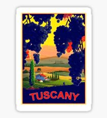 Tuscany, Italy, landscape,vineyard,travel poster Sticker