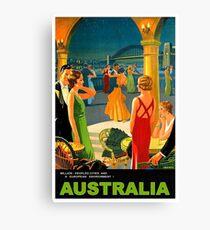 Australia, romantic nights, dance, travel poster Canvas Print