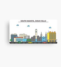 South Dakota - Sioux Falls. Silhouette Skyline Canvas Print