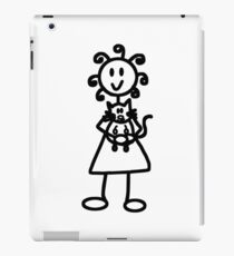 The Girl with the Curly Hair Holding Cat - White iPad Case/Skin