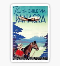 Fly to Chile, airliner, vintage travel poster Sticker