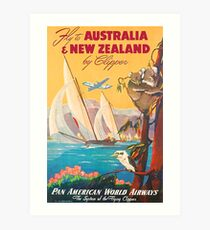 Fly to Australia and New Zealand, airline poster Art Print