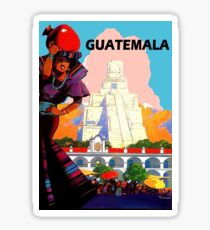 Guatemala, city, traditional woman,travel poster Sticker