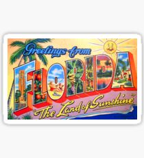 Greetings from Florida, land of sunshine,vintage travel poster Sticker