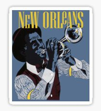 New Orleans, Trumpeter, musician, travel poster Sticker