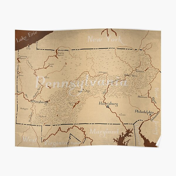 Pennsylvania Fantasy Map Poster