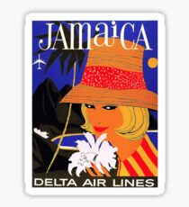 Jamaica, woman with orange hat, airline poster Sticker