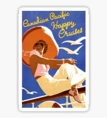 Happy woman on a cruising ship, travel poster Sticker
