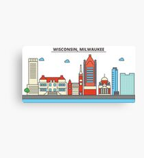Wisconsin - Milwaukee City. Silhouette Skyline Canvas Print