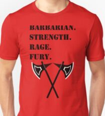 STRENGTH RAGE FURY 5E Barbarian RPG Class T-Shirt
