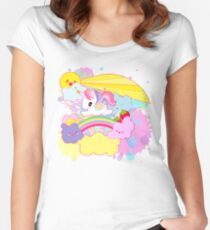 kawaii unicorn sky scene Women's Fitted Scoop T-Shirt