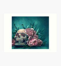Skull and Peonies Art Print