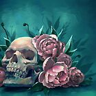 Skull and Peonies by FaerytaleWings