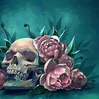 Skull and Peonies by FaerytaleWings