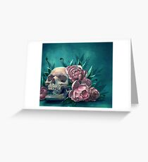 Skull and Peonies Greeting Card