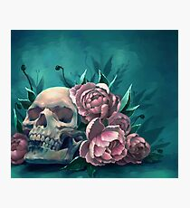 Skull and Peonies Photographic Print