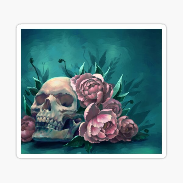 Skull and Peonies Sticker