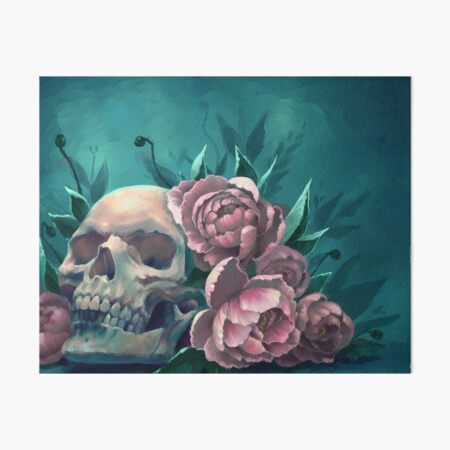 Skull and Peonies Art Board Print