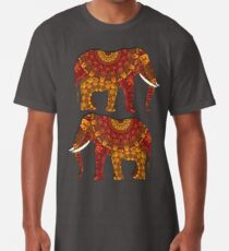 Beautiful Ornately Patterned Indian Elephant Rustic Rich Colors Long T-Shirt