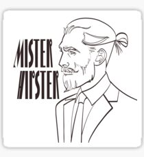 Vector illustration of a modern man in a pop art, comic style with signature Mister Hipster.  Sticker