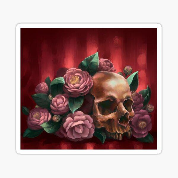 Skull and Camellias Sticker