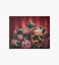 Skull and Camellias Art Board